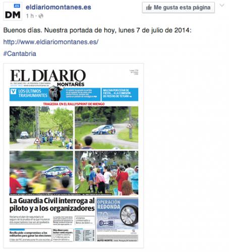 Los aficionados a los rallyes estallan ante la portada de Diario Montañes con el accidente del Rally Sprint de Miengo 2014
