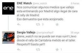 ENE Watch incendiar twitter indicando que Vallejo estaba entrenando en Canencia el Rallye RACE 2014