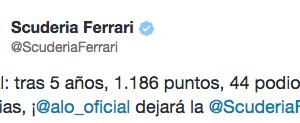 Oficial Ferrari anuncia la baja de Fernando Alonso antes del GP de Abu Dhabi de Fórmula 1 2014